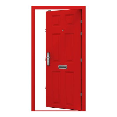 traffic red panelled door with letter box and viewer, clearance code RMU18
