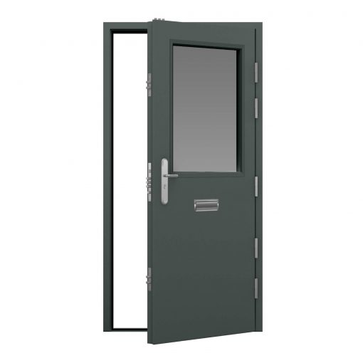 basalt grey door with half vision panel and letterbox, clearance code RMU20