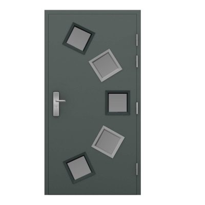 grey steel door with 5 glazing panels 3 dark and 3 light frames, clearance code RMU22