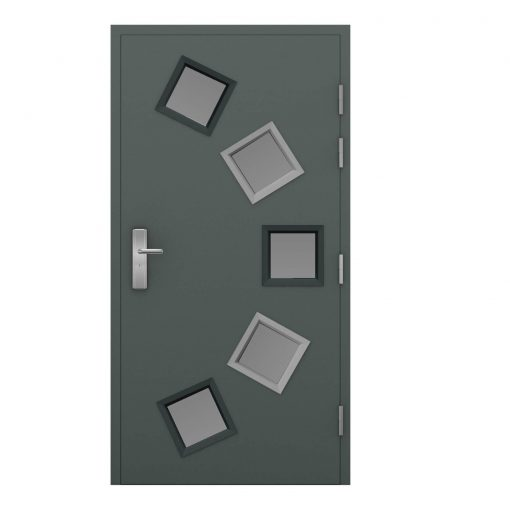grey steel door with 5 glazing panels 3 dark and 3 light frames, clearance code RMU22