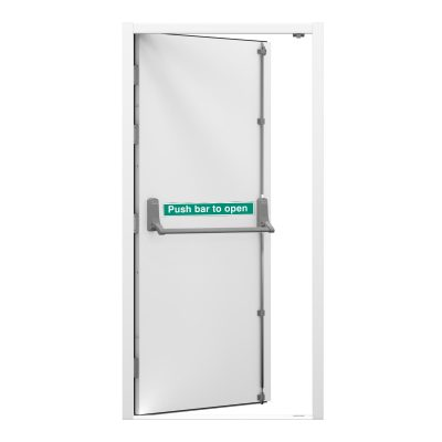 white fire exit door with push bar to open sticker, clearance code RMU29