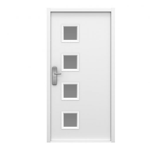 white steel security door with 4 glazing panels to the latching side of the door
