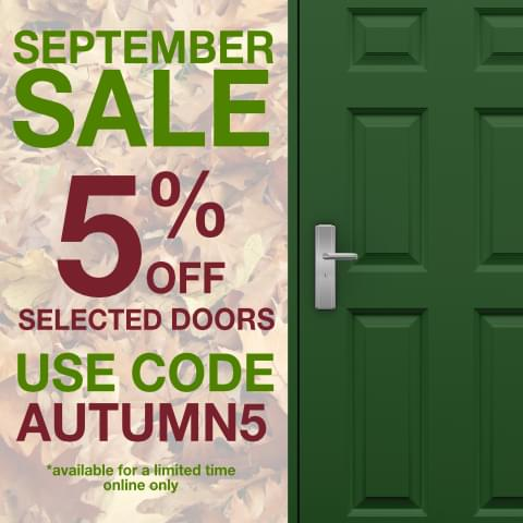 pop up graphic with a green panelled door and details of the autumn discount