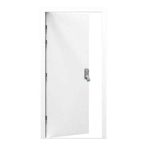 white steel door with push pad emergency exit installed
