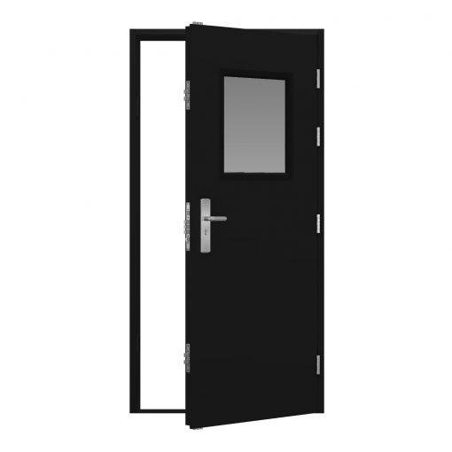 Jet black steel door with glazing panel top centre, clearance code RMP257