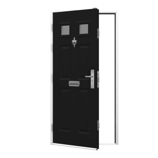 Panelled steel door with black door leaf and white frame, clearance code RMP258