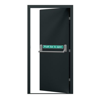Budget fire exit door with single point push bar and powder coated in anthracite grey