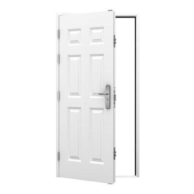 Panelled steel security door in white