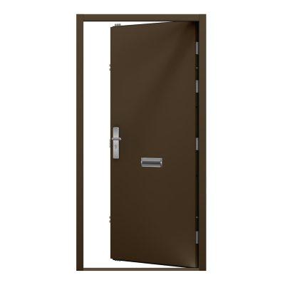 van dyke brown steel security door with letter box