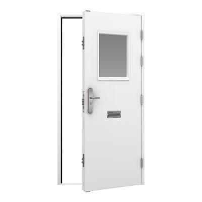 steel door in white with a glazing panel to the top half of the door