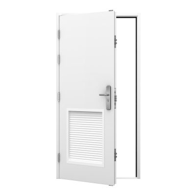 white steel security door with louvre panels fitted to the centre bottom of the door