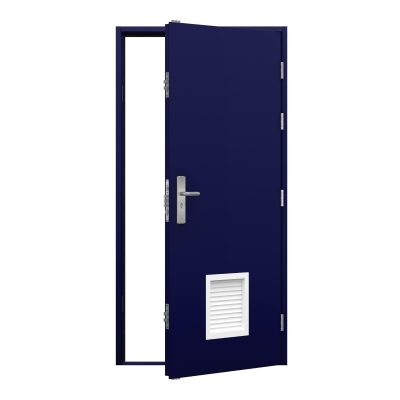 Ultramarine blue steel door with a white louvre panel on the bottom centre of the door