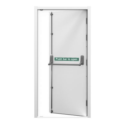 Security Fire Exit Door in white with an Exidor push bar