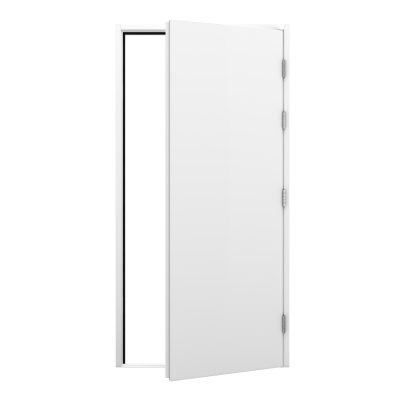 Blank white steel door with no locking system