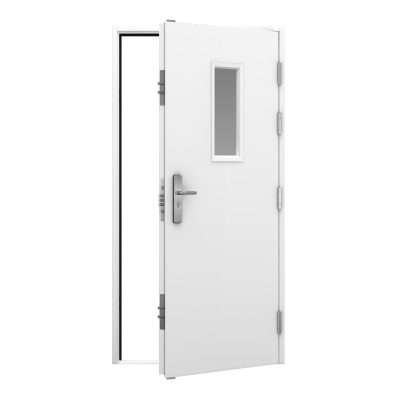 white steel door with glazing in the top centre panel