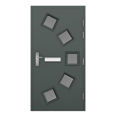 basalt grey security front door with 5 glazing panels and a letterbox