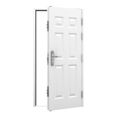 High security panelled steel door in white