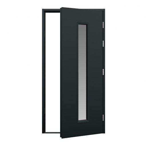 anthracite grey blank steel door with glazing panel
