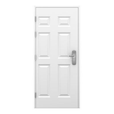 White 6 panelled steel door