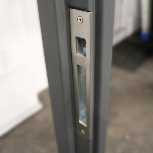 Image showing the stainless steel strike plate on a container door