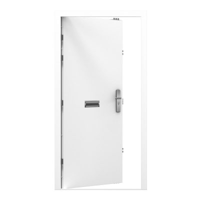 white steel door with a letterbox in the middle
