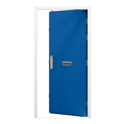 Sky blue steel door with white frame and letterbox in the middle of the door