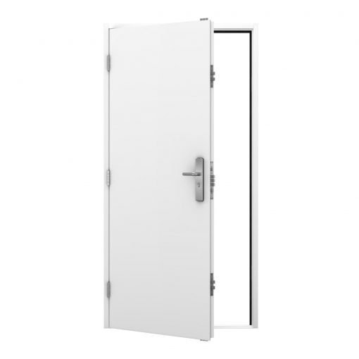 white steel door