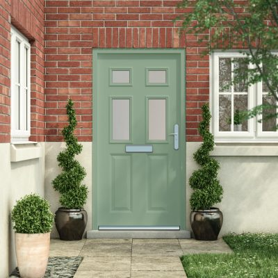 Latham's panelled front door in chartwell green