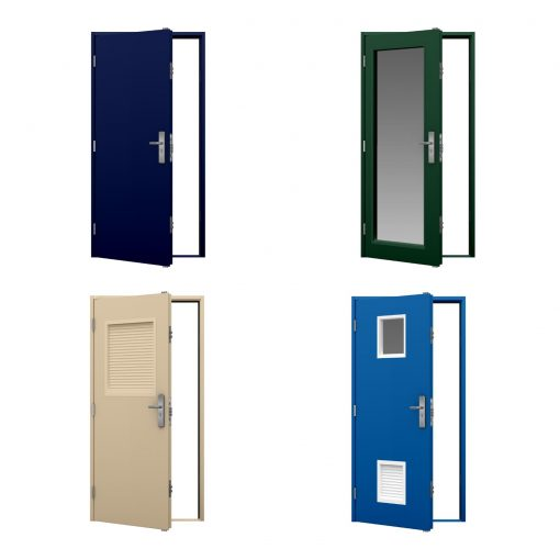 four coloured budget steel door variations