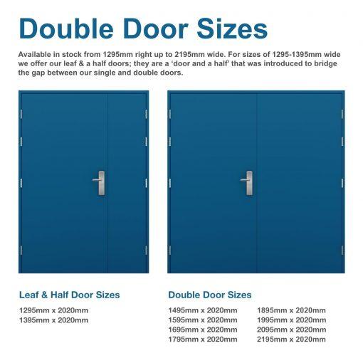 diagram showing double door sizes for security double doors