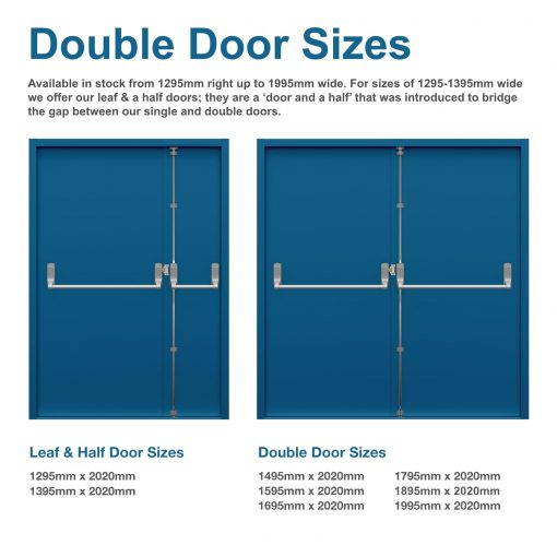 diagram showing double door sizes for double fire exit doors