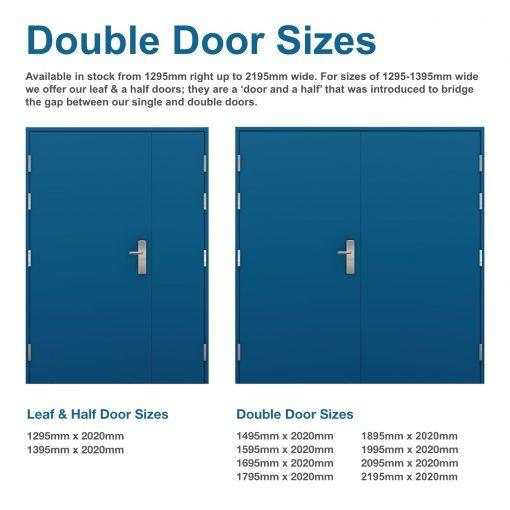 Diagram showing double door sizes for high security double doors