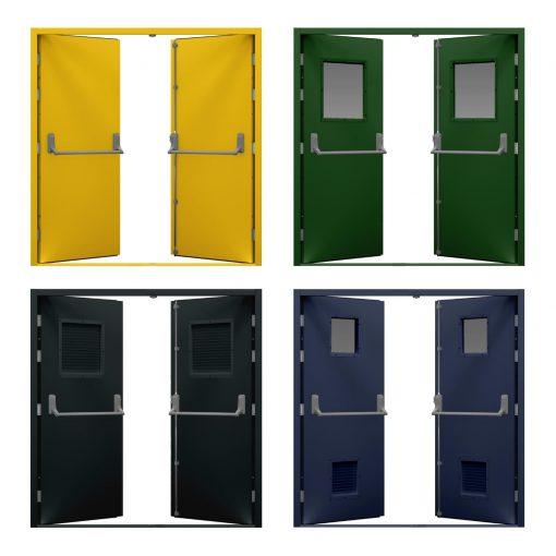 Four double fire exit door variations