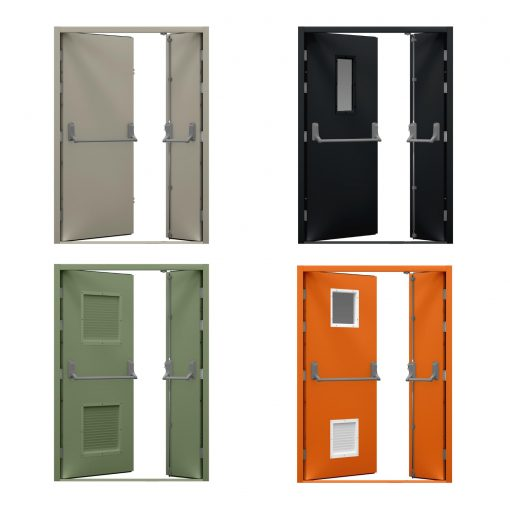 Four coloured leaf and half fire exit door variations