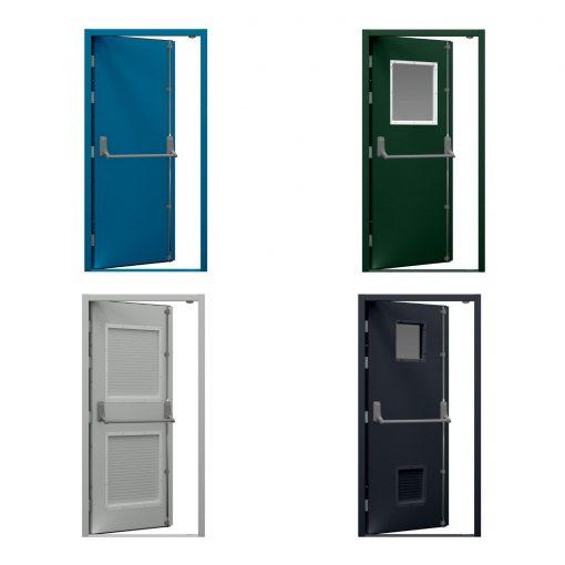 Four coloured door variations for security steel door