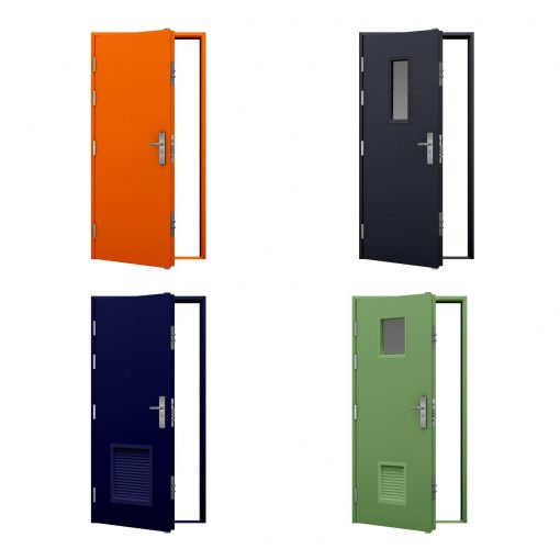 four coloured high security steel door variations