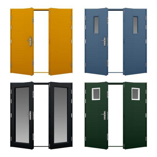 four coloured high security double steel door variations