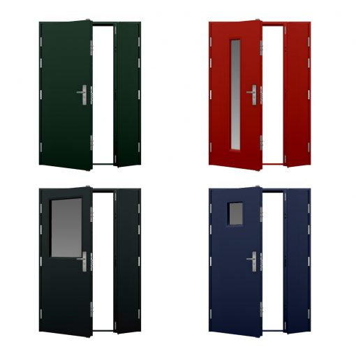 four coloured high security leaf and half steel door variations