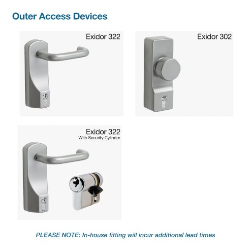 Outer access device (OAD) options for Latham's fire exit doors