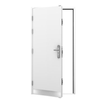 Outside view white steel door with kick plate