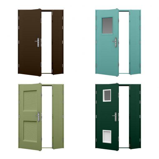 four coloured security leaf and half steel door variations