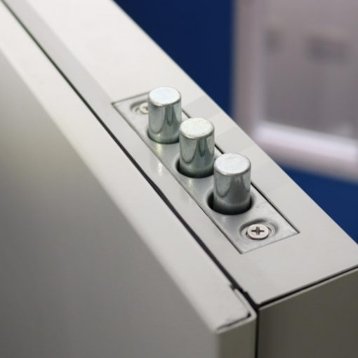 Image of top shoot bolts on high security steel door
