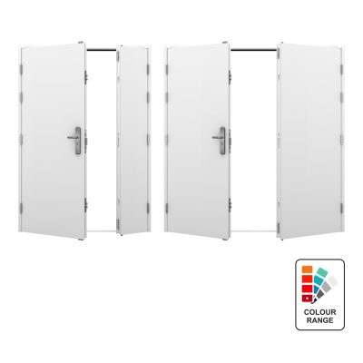 Range of double steel doors with colour range icon