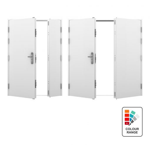 White double and leaf and a half steel doors with smaller versions showing a number of colour options