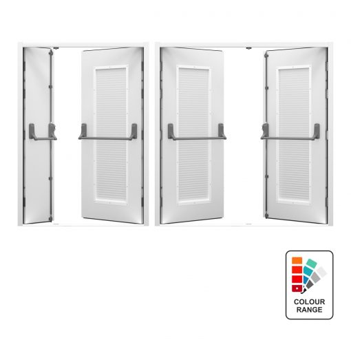 Louvred Double Fire Exit Door with Exidor Panic Bar