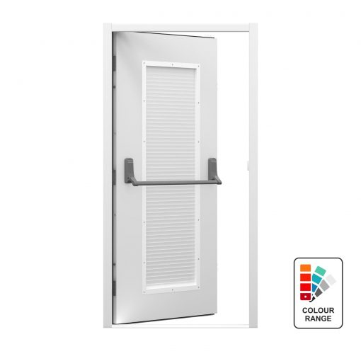 Louvred fire exit door with Exidor panic bar