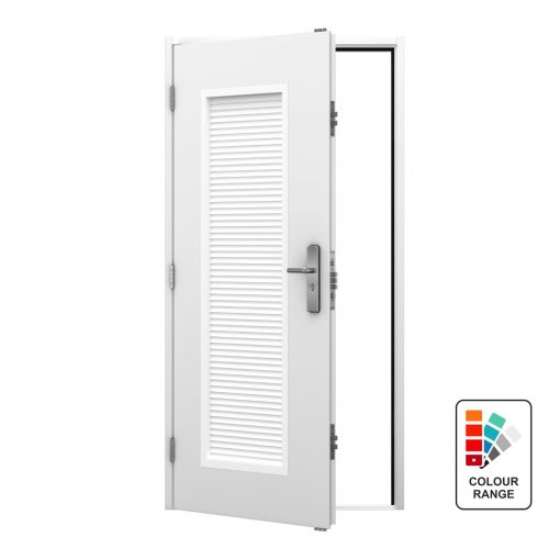 Louvered steel personnel door with full louvre panel