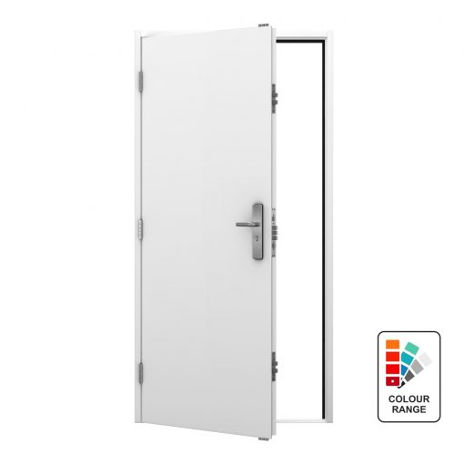 White steel personnel door with colour range icon