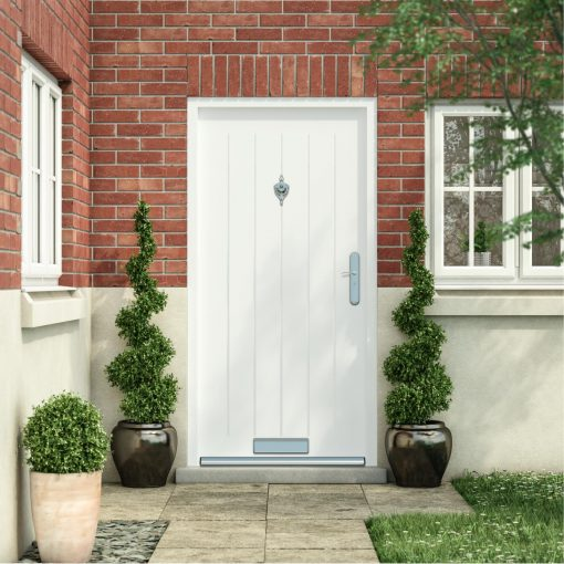 white cottage style front door installed in a house