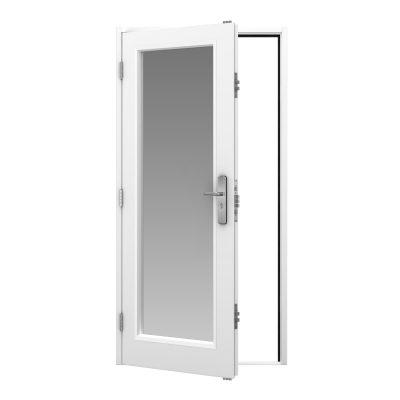 white steel door with full glazing panel